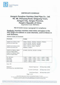 PED/97/23/EC Certificate